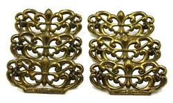 Set X 6 Genuine Art Nouveau Brass Drawer Handles/backplates For Chest Of Drawers
