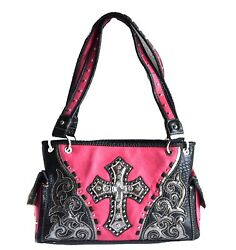 western concealed carry handbag cowgirl cross shoulder purse bling floral studs $36.99