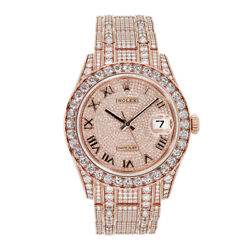 Rolex Datejust 34 Pearlmaster 34MM Rose Gold Diamond Paved Watch 86405RBR