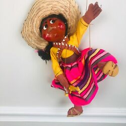 Vintage Southwestern Marionettes Woman Puppet With Gun Mexican