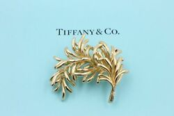 Authentic Vintage And Co 18k Yellow Gold Leaf Pin Brooch
