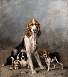 Large 19th Century Belgian Hounds Mother & Puppies Portrait Dog Antique Painting