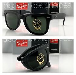 Ray Ban RB4105 Folding Wayfarer Sunglasses 601S MATTE Black Green G 15 Lens 50 $94.99