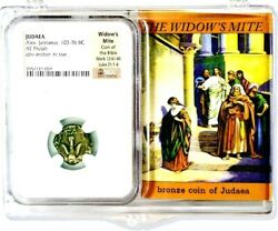 2000 Year Old Ancient Widows Mite Coin And Story Card Ngc Certified Premium Grade