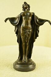 SIGNED PHILLIPPE ART NOUVEAU NUDE WOMAN AWAKENING BRONZE SCULPTURE FIGURINE DECO