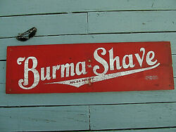 Vintage Authentic Script Burma Shave Wood Sign W/ Sign And Pictorial Union 886 Tm