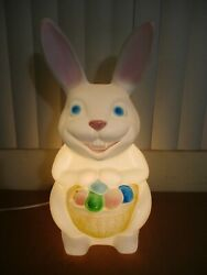 Vintage Easter Bunny W/ Egg Basket Lighted Blow Mold Lawn Decor Empire 34 D