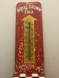 Vintage Drink Royal Crown Rc Cola Metal Advertising Thermometer Sign 25.5 Tall
