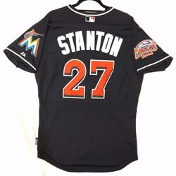 Majestic Authentic 44 Large Miami Marlins Giancarlo Stanton Cool Base Jersey