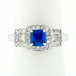 18k White Gold 1.70ct Agl Emerald Step Cut Royal Blue Sapphire And Diamond Ring