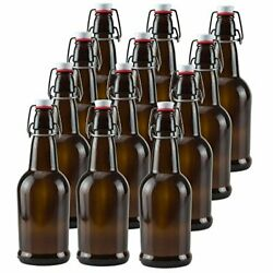 Ilyapa 16oz Clear Glass Beer Bottles For Home Brewing - 12 Pack