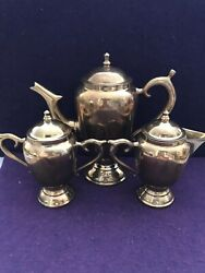 Thai Handcrafted Tea/coffee Copper Set Very Heavy And Sturdy Condition Well Made