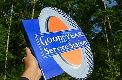 Old Style Goodyear Service Station Tire Dicut Flange Thick Steel Sign Usa Made