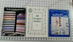 3 Cross Stitch Border Books by Dale Burdett and by Gloria amp; Pat Graphique