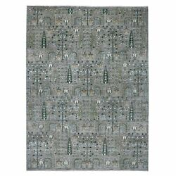 9'x11'6 Gray Willow And Cypress Tree Design Natural Wool Hand Made Rug G54870