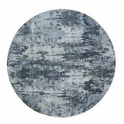 8'1x8'1 Gray Round Abstract Wool And Pure Silk Handknotted Oriental Rug G49999