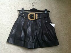New Authentic Balmain High-waisted Belted Leather Shorts Size34 Fr