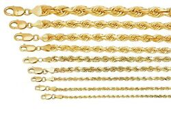 Solid 10k Yellow Gold 1mm-10mm Diamond Cut Rope Chain Pendant Necklace 16-30