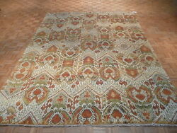 9 X 12 Hand Knotted Ikat Design Oriental Rug Vegetable Dyes G896