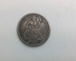 1877 Cc Seated Liberty Carson City Dime Solid Coin Pleasing Mid Grade