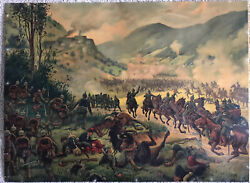 Rare Ww1 French And Imperial German Print 1914 World War One Battle Scene