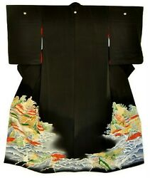 Vintage Silk Kimono With Japanese Sansui Painting Mountain And Water Landscape