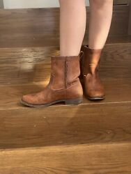 Frye Womens Real Leather Short Pull On Western Ankle Boots Size 6.5andnbsp