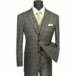 Vinci Menand039s Olive Green Windowpane 3 Piece 2 Button Classic Fit Suit New