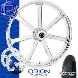 Rotation Orion Chrome Custom Motorcycle Wheel Front Package Harley Touring 23