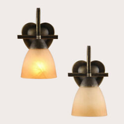 Goldenteak Glass Shade Wall Light With Etched Heart-shaped Back Plate Decor