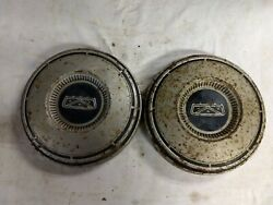 1967-1973 Ford Truck Car Fomoco Pair 2 Dog Dish Poverty Hubcaps Painted
