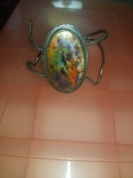 Rare Silver And Xlarge Color Jasper Mid Century Modern Cuff Bracelet Sign Gee