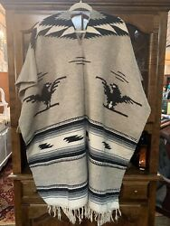 Vintage Navajo Style Or Mexican Wool Thunderbird Poncho Rug, Wall Hanging
