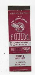 Vintage Matchbook Cover Reesey's Mens Shop Girard Oh Botany Ties 3392