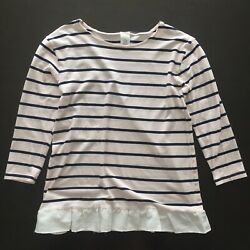 Crewcuts Girls#x27; Striped Long Sleeve Ruffle Trim T Shirt Pink Size XL 14