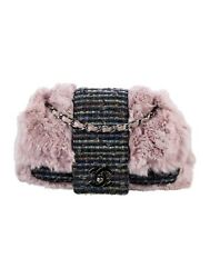 CHANEL Designer Tweed Fantasy Lilac Fur Flap Bag $1,299.99