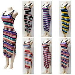 Women#x27;s Casual Summer Sleeveless Striped Maxi Boho Bodycon Stretch Dress