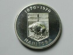 Manitoba Canada 1970 Centennial Flowers Cuni Medal With Coat Of Arms And Buffalo