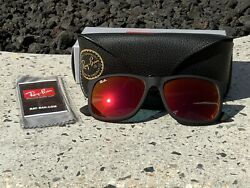 Ray Ban Justin Classic Matte Black Frame With Red Mirror Lens RB4165 622 6Q 55mm