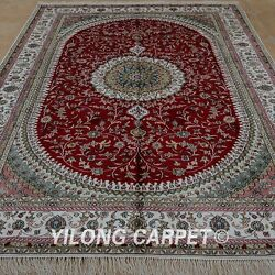Yilong 6'x9' Handknotted Silk Rug Kid Friendly Red Home Decor Carpet 1217