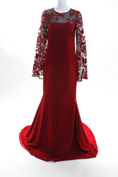 Kevan Hall Womens Long Sleeve Embroidered Sequin Gown Dress Red Size 10