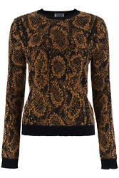 New Saint Laurent Jacquard Snake Sweater 631047 Yase2 Noir Camel Or Authentic Nw