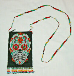 Sugar Skull Day Of Dead Lined Purse Tote Bag Black Glass Beads 4-1/2x7 Bd1