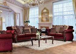 Old World Living Room Furniture Wood Trim And Burgundy Fabric Sofa Couch Set Ircu