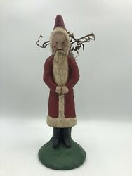Hand Painted Chalkware Santa Father Christmas Belsnickle 1987 Folk Art