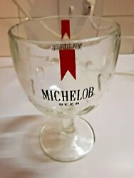 Vintage 1970and039s Michelob Beer Goblet Heavy Glass Footed Thumbprint Beer Mug