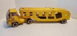 Tonka Yellow Pressed Steel Toy Car Carrier Auto Transporter 1960s Vintage 25