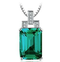 3ct Emerald Cut Green Emerald Solid Style Pendant 14k White Gold Over Free Chain