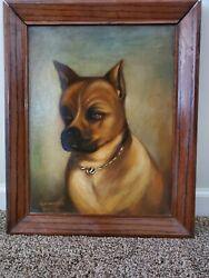 1957 Vintage Dog Oil Painting Pit Bull Boxer Chihuahua Staffordshire Terrier