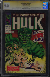Incredible Hulk 102 Marvel, 1968 Cgc 9.0 Signed By Stan Lee